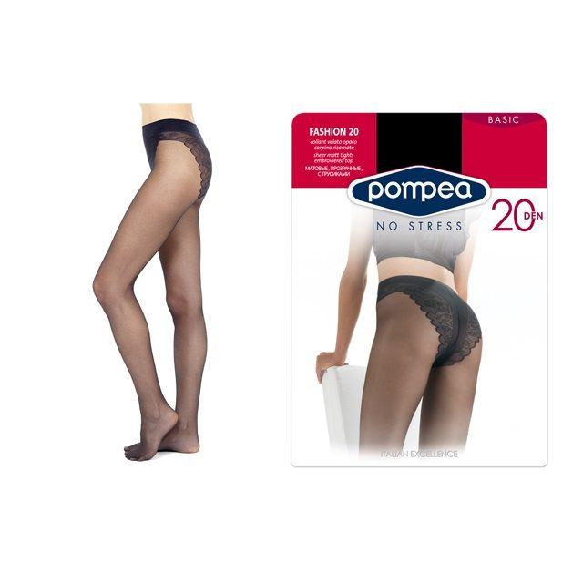 Pompea Fashion 20 Матов дамски чорапогащник с бродирани бикини, цвят Nero, размер 4 L х1 брой