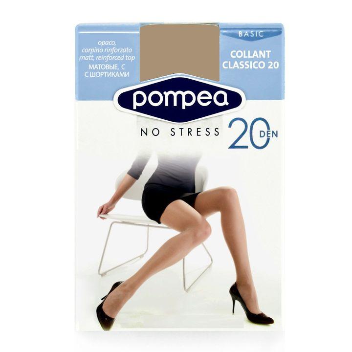 Pompea Classico 20 Дамски еластичен чорапогащник, цвят Playa, размер XL х1 брой