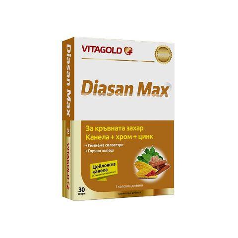 Vitagold Диасан Макс Канела + Хром + Цинк за диабет и висока кръвна захар х30 капсули