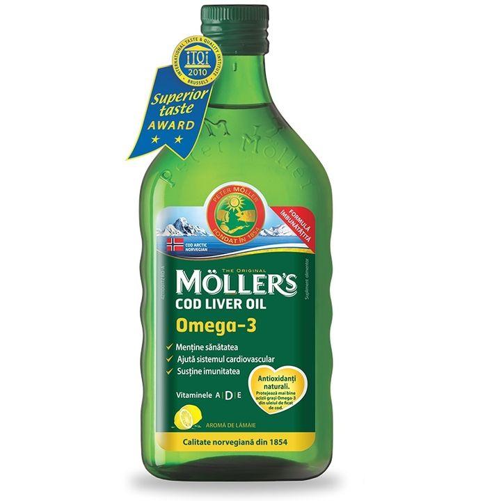 Moller's Cod Liver Oil Рибено масло от черен дроб на Треска сироп с вкус на лимон х250 мл