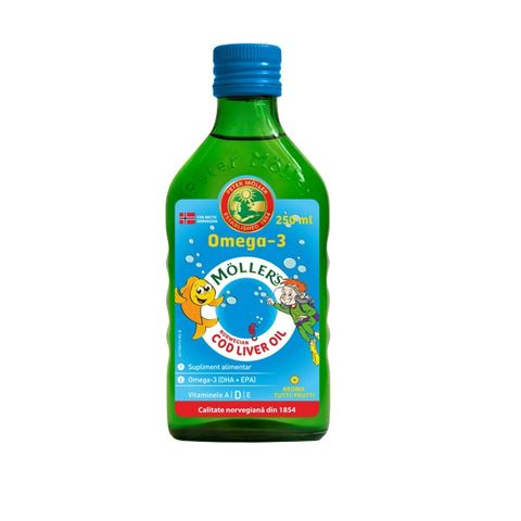 Moller's Cod Liver Oil Рибено масло от черен дроб на треска сироп с плодов вкус х250 мл