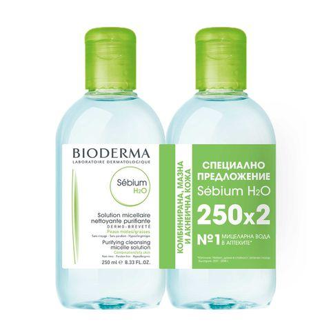Bioderma Sebium H2O Промо комплект Мицеларна вода за лице за мазна кожа 2x250 мл