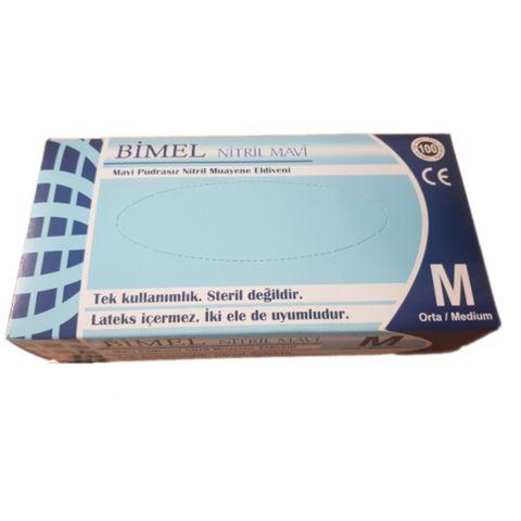 Bimel Еднократни ръкавици от нитрил без талк, цвят син, размер M х100 броя