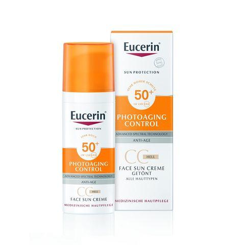 Eucerin Sun Cream Оцветен слънцезащитен СС крем за лице за чувствителна кожа светъл нюанс SPF50+ x50 мл