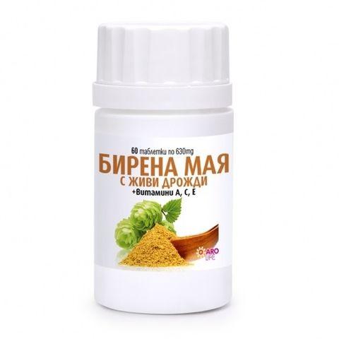 Aro Life Бирена мая + Витамини A, C, E за здрави коса, кожа и нокти 630 мг х60 таблетки