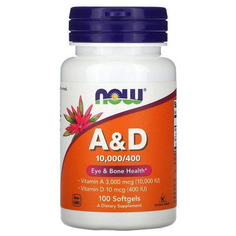 Now Foods Витамин А и D 10000/400 IU х100 софтгел капсули
