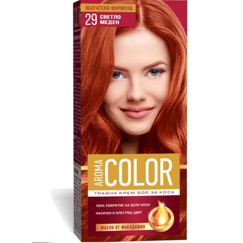 Aroma Color Дълготрайна крем-боя за коса, цвят 29 Светло меден