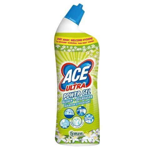 Ace Ultra Power Gel Lemon Почистващ гел с белина и обезмаслител x750 мл
