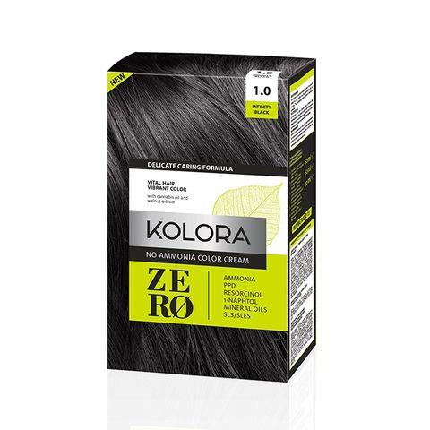 Kolora Zero Безамонячна полутрайна крем-боя за коса 1.0 Наситено черен