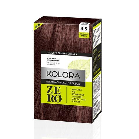 Kolora Zero Безамонячна полутрайна крем-боя за коса 4.5 Кафяв махагон