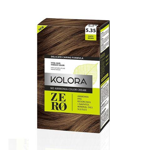 Kolora Zero Безамонячна полутрайна крем-боя за коса 5.35 Земно кафяв