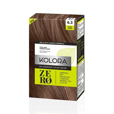 Kolora Zero Безамонячна полутрайна крем-боя за коса 6.3 Кафяв кехлибар