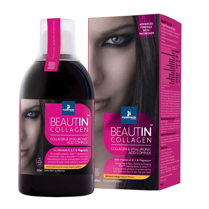Myelements Beautin Collagen с вкус на манго и пъпеш за здрави коса, кожа и нокти х500 мл