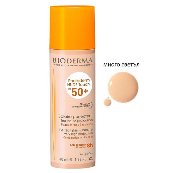 Bioderma Photoderm Nude Touch Слънцезащита с ефект на непокрита кожа, цвят много светъл SPF50+ x40 мл