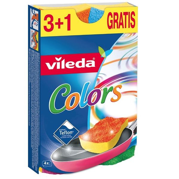 Vileda Colors Домакинска гъба x4 броя