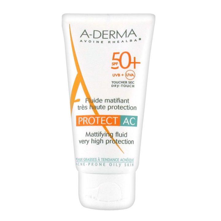 A-Derma AC Protect Слънцезащитен матиращ флуид за лице за мазна кожа SPF 50+ х40 мл