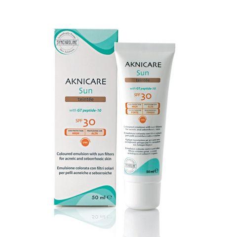 Synchroline Aknicare Teintee Слънцезащитна оцветена емулсия за лице за акнеична кожа SPF 30 x50 мл