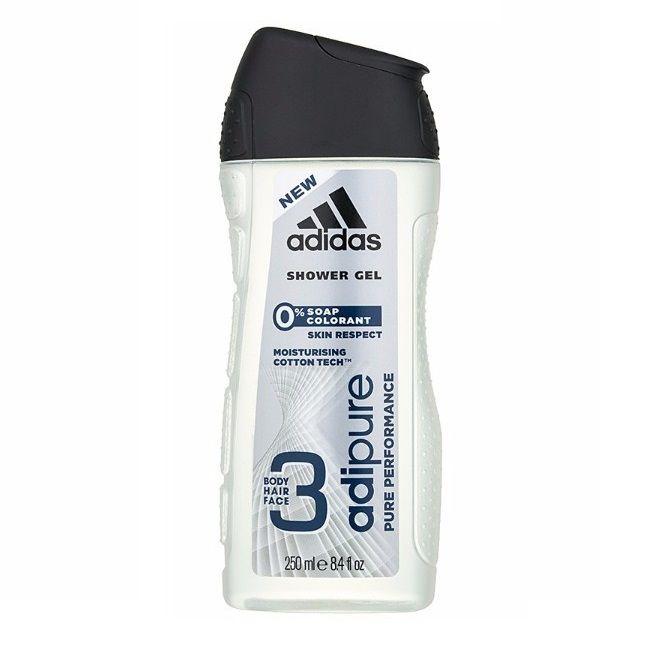 Adidas Adipure 3in1 Овлажняващ мъжки душ гел за коса и тяло без сапуни и оцветители х250 мл