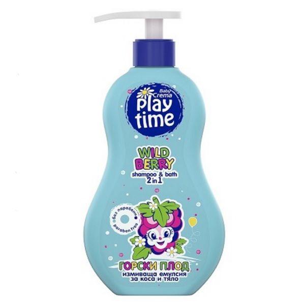 Baby Crema Play Time Измиваща емулсия 2в1 за коса и тяло Горски плод x400 мл
