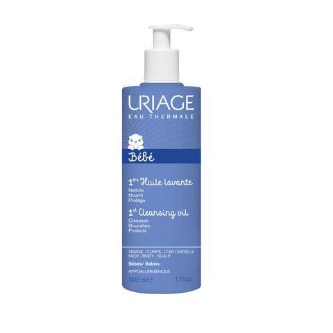 Uriage Bebe Почистващо защитно гел-олио за бебета и деца за лице, тяло и скалп x500 мл