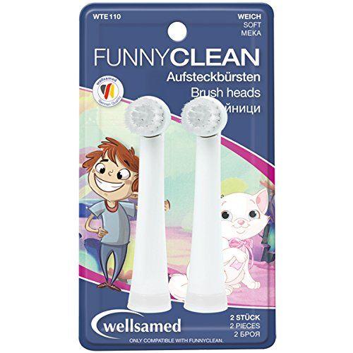 Wellsamed Funny Clean Накрайници за eлектрическа четка за зъби Меки х2 броя