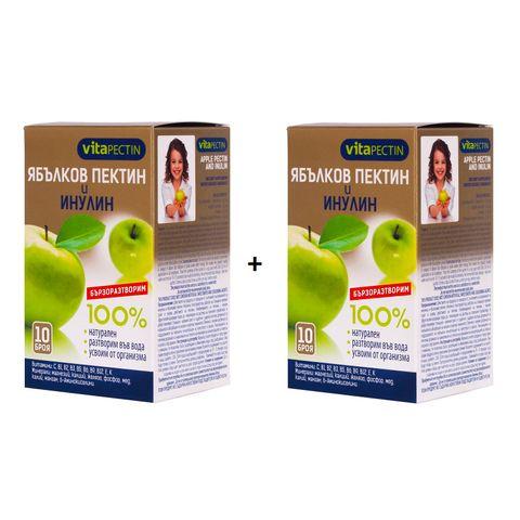 VitaPectin Промо комплект 100% Натурален разтворим ябълков пектин и инулин 2х10 сашета