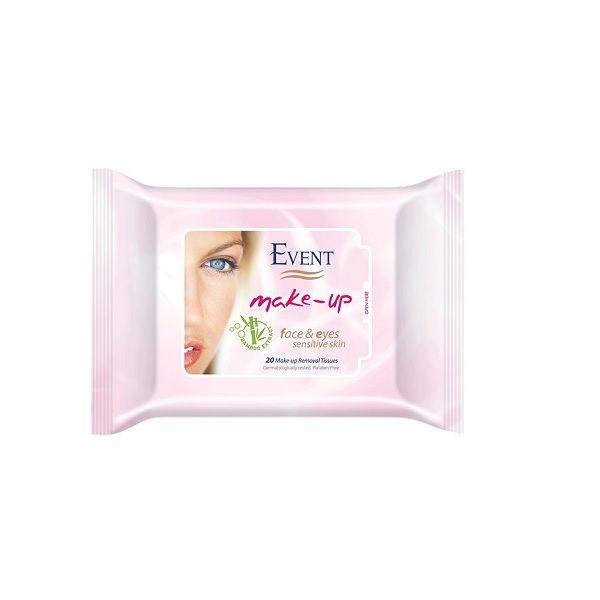 Event Make-up Почистващи мокри кърпи за грим за чувствителна кожа с бамбук х20 бр