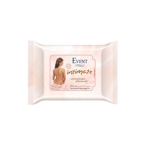 Event Intimate Интимни мокри кърпи с млечна киселина и чаено дърво х20 броя