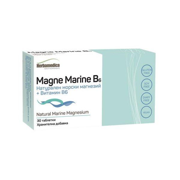 Натурален морски магнезий + витамин B6 х30 капсули Herba Medica