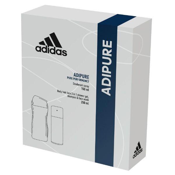 Adidas Adipure Промо комплект за мъже Душ гел за коса и тяло и Дезодорант спрей