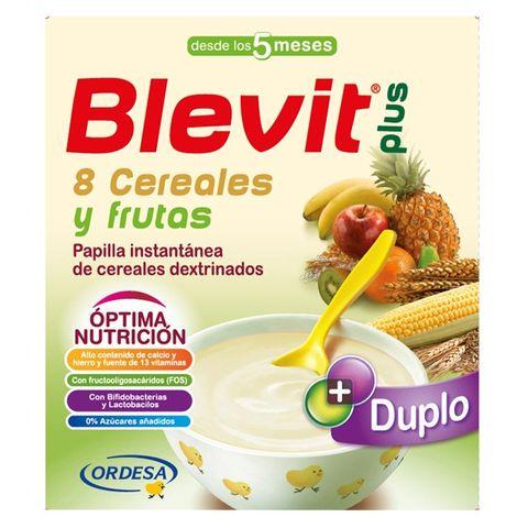 Blevit plus Дупло каша с 8 житни растения и плодове за бебета от 5 месечна възраст х600гр