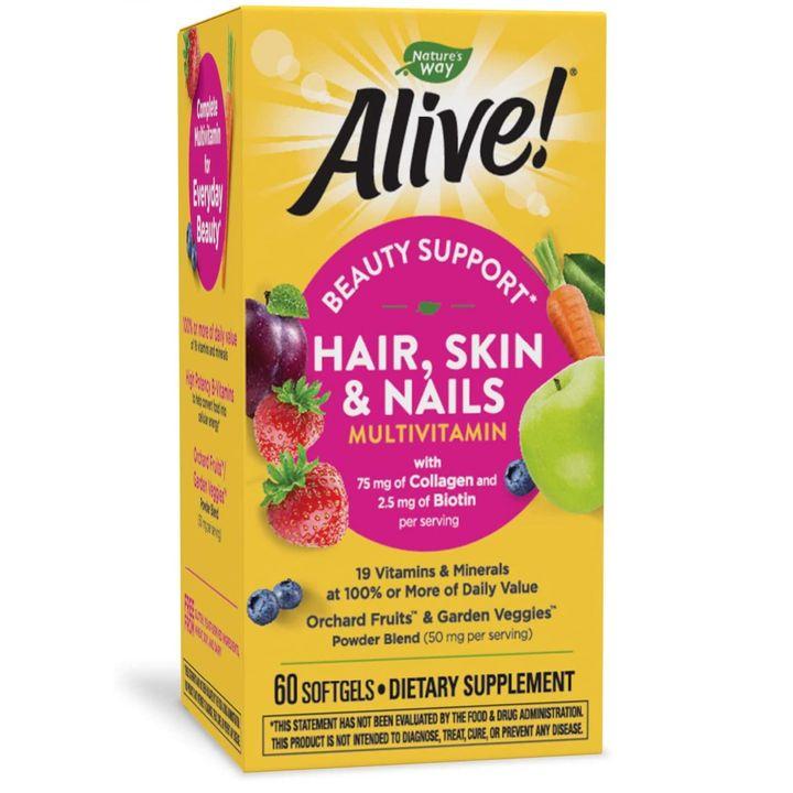 Alive Мултивитамини за коса, кожа и нокти 1040 мг x60 софтгел капсули Nature's Way