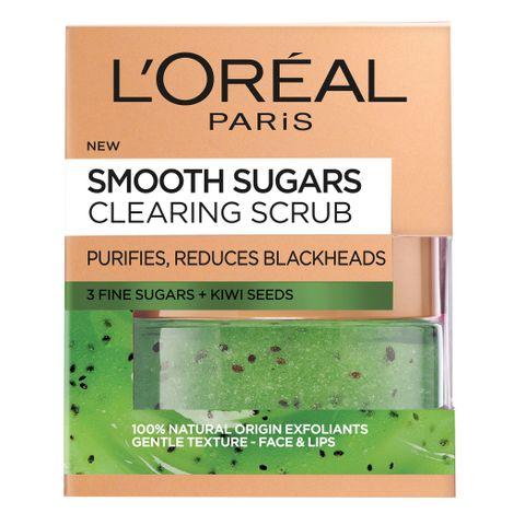 Loreal Smooth Sugar Clear Почистващ пилинг за лице и устни x50мл