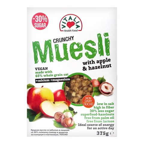 Vitalia Crunchy Muesli Крънчи мюсли с ябълки и лешници x375 грама