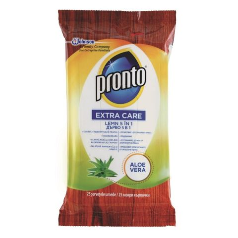 Pronto Extra Care 5in1 Почистващи кърпички за дървени повърхности с алое вера x25 броя