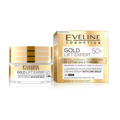 Eveline Gold Lift Expert Крем против бръчки за зряла, суха и чувствителна кожа 50+ х50 мл