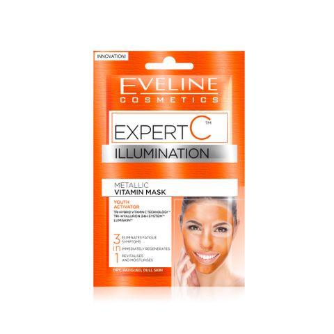 Eveline Expert C Витаминна маска за лице 3в1 за суха и уморена кожа, 2 броя х5 мл