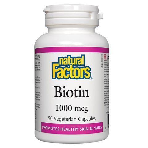 Natural Factors Biotin За здрави коса, кожа и нокти, 1000 mcg x90 вегетариански капсули
