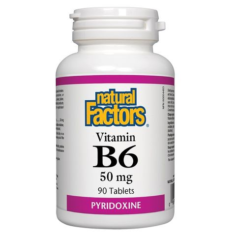 Natural Factors Vitamin B6 за нормално функциониране на организма, 50мг х90 таблетки