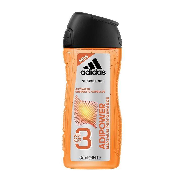 Adidas Adipower 3в1 Men Мъжки душ-гел за тяло, лице и коса с енергизиращи капсули х250 мл