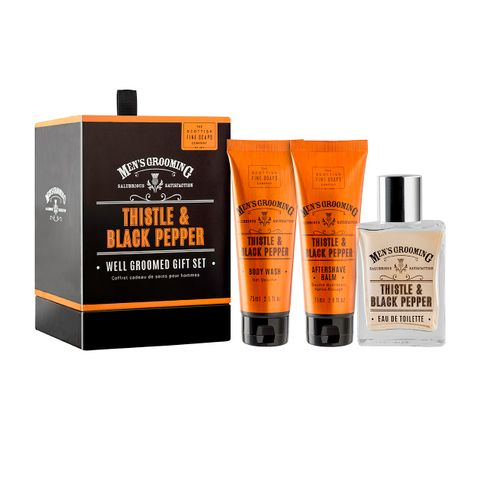 Scottish Fine Soaps Thistle & Black Промо комплект за мъже Тоалетна вода, Афтършейв балсам и Душ-гел