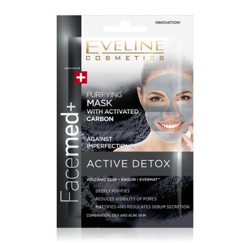 Eveline Facemed+ Почистваща маска за лице с активен въглен, 2 броя х5 мл