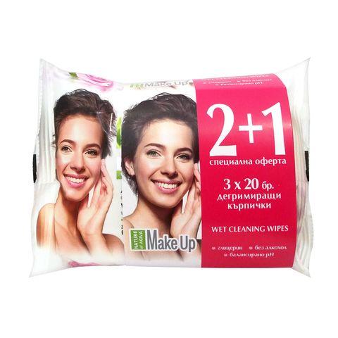 Nature of Agiva Дегримиращи мокри кърпи за лице с розово масло, 3 пакета х20 броя