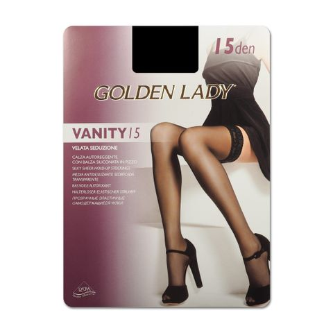 Golden Lady Vanity 15 Елегантни силиконови чорапи за жени, цвят Nero, размер M/L х1 брой