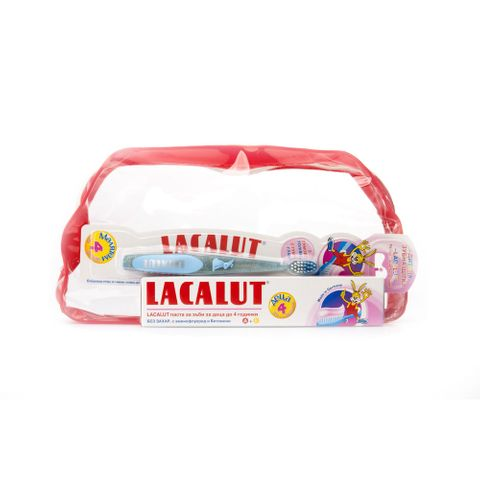 Lacalut Baby Промо комплект Четка за зъби, Паста за деца до 4 години и подарък Несесер