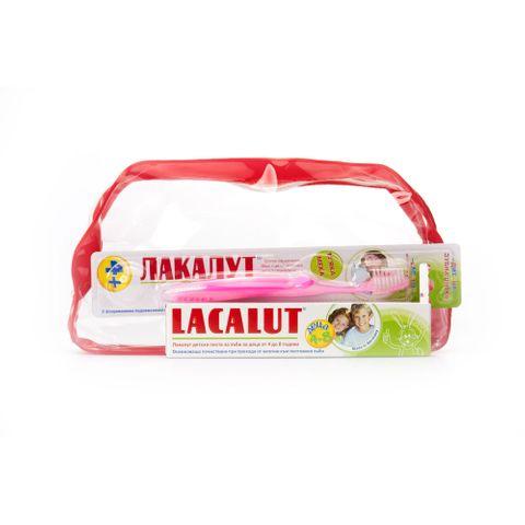 Lacalut Kids Промо комплект Четка за зъби, Паста за деца от 4 до 8 години и подарък Несесер