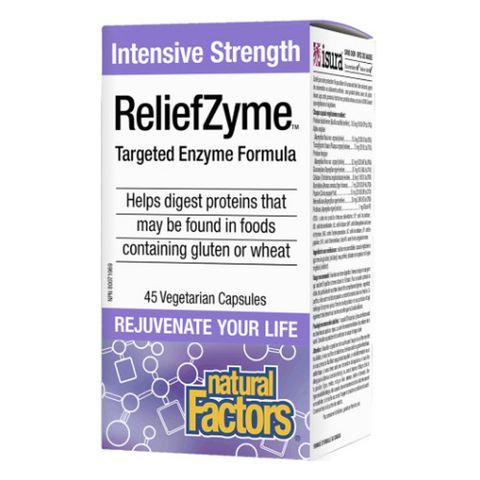 Natural Factors Intensive Strength ReliefZyme Ензимна формула за естествена стомашно-чревна функция. 295 мг х45 V-капсули