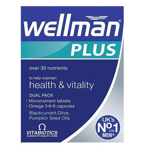 VitaBiotics Wellman Plus Мултивитамини и Омега 3-6-9 за мъже За добро здраве и жизненост 28 таблетки + 28 капсули