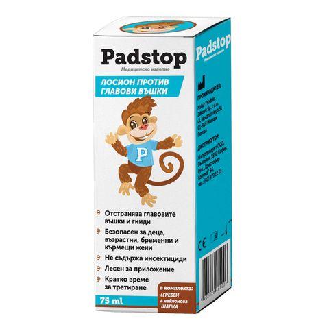 Padstop Лосион срещу въшки В комплект с гребен и шапчица х75 мл Naturprodukt