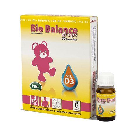 Био Баланс капки Синбиотик с витамин D3 за кърмачета и новородени х7,5 мл Nobel Pharma